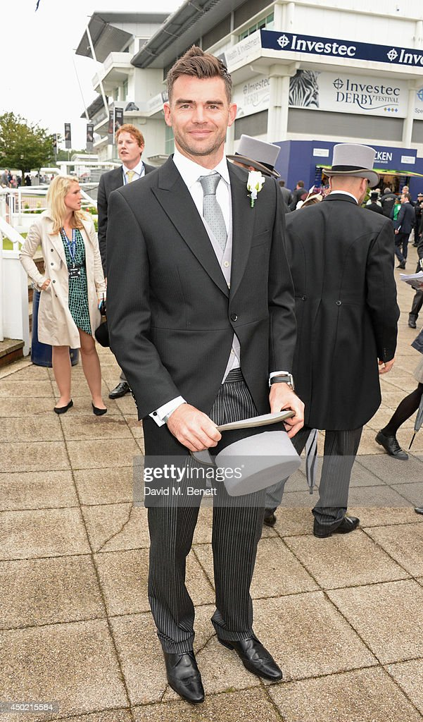 England cricketer <a gi-track='captionPersonalityLinkClicked' href=/galleries/search?phrase=James+Anderson+-+Cricket+Player&family=editorial&specificpeople=6920305 ng-click='$event.stopPropagation()'>James Anderson</a> attends Derby Day at the Investec Derby Festival at Epsom Downs Racecourse on June 6, 2014 in Epsom, England.