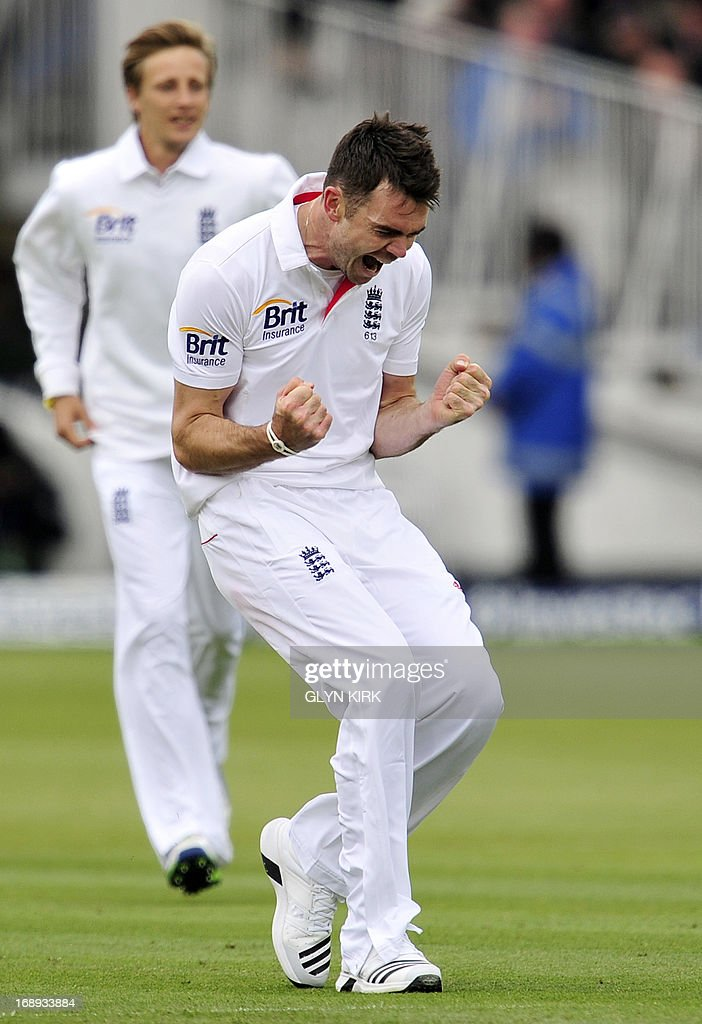 England cricketer James Anderson celebrates the dismissal of New Zealand's Peter Fulton for two runs during the second day of the first International Test cricket match between England and New Zealand at Lord's cricket ground in London on May 17, 2013. New Zealand's Tim Southee took two wickets in two balls as England collapsed on the second day of the first Test at Lord's. At lunch, England, who had won the toss, were 209 for eight, having lost four wickets for nine runs in 17 balls against accurate New Zealand seam bowling in overcast conditions. AFP PHOTO / GLYN KIRK