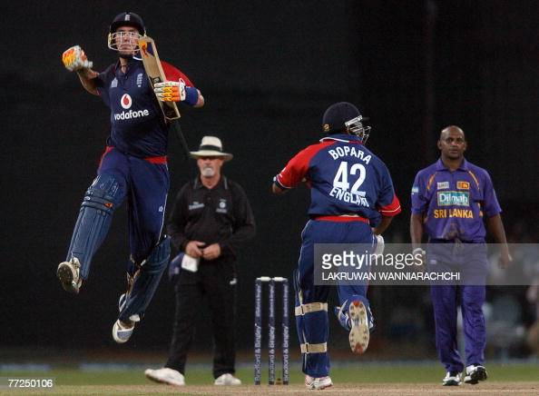 England cricketer Kevin Pietersen teammate Ravi Bopara celebrate their win over Sri Lanka in the fourth oneday international match at The R Premadasa...