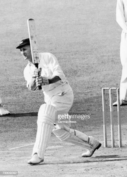 England cricketer Len Hutton in bat circa 1950