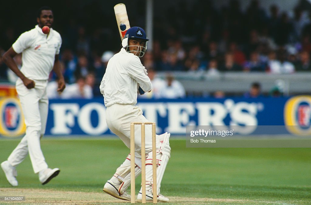 England cricketer <a gi-track='captionPersonalityLinkClicked' href=/galleries/search?phrase=Mark+Ramprakash&family=editorial&specificpeople=240276 ng-click='$event.stopPropagation()'>Mark Ramprakash</a> during the 3rd Cornhill Test Match between England and the West Indies at Trent Bridge, Nottinghamshire, 7th July 1991. The West Indies beat England by 9 wickets.