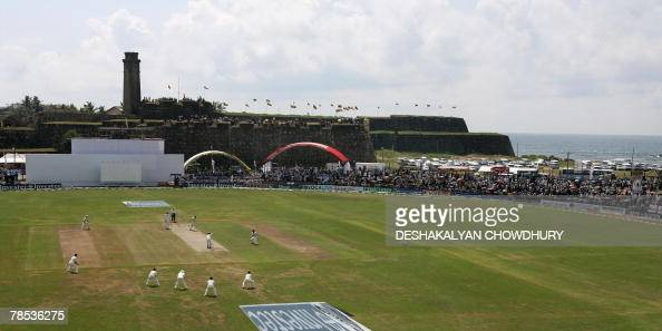England cricketer Matthew Hoggard delivers a ball to Sri Lankan batsman Michael Vandort in front of the 16thcentury Dutch fort at The Galle...