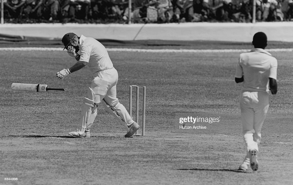 England cricketer Mike Gatting is hit in the face by a bouncing ball from bowler Malcolm Marshall February 1986