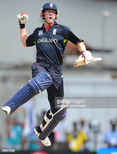 England cricketer Paul Collingwood reacts after winning the Men's ICC World Twenty20 final match between Australia and England at the Kensington Oval...