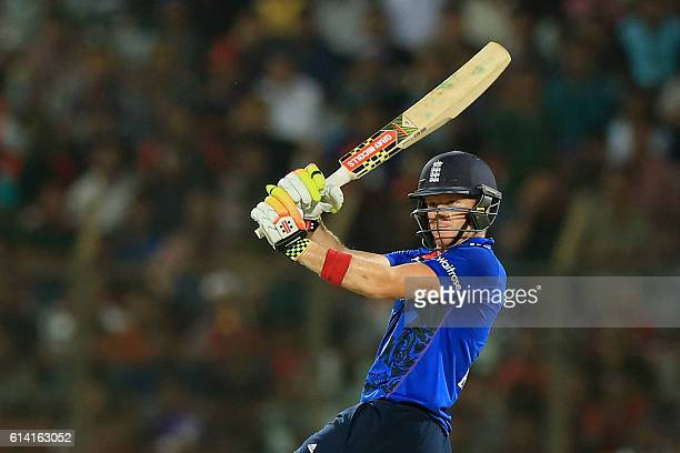 England cricketer Sam Billings plays a shot during the third and final One Day International cricket match between Bangladesh and England at the...