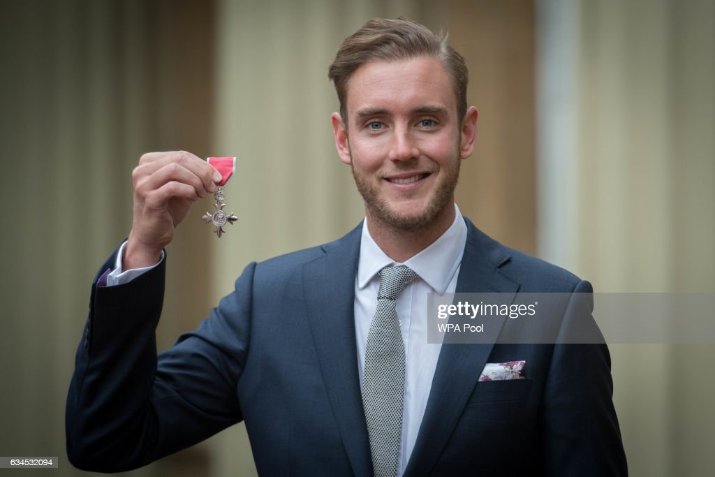 England cricketer Stuart Broad after being made a Member of the Order of the British Empire (MBE) by the Prince of Wales at an Investiture ceremony at Buckingham Palace on February 10, 2017 in London, England.
