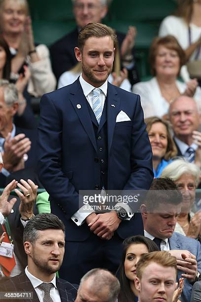 England cricketer Stuart Broad stands in the royal box on centre court as he is introduced on the sixth day of the 2016 Wimbledon Championships at...