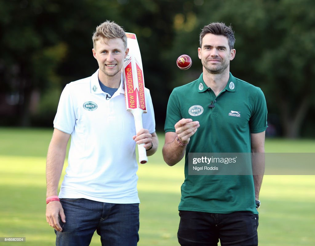 England cricketers Joe Root (L) and James Anderson pose for a photo during the Brut T20 Cricket match betweenTeam Jimmy and Team Joe at Worksop College on September 13, 2017 in Worksop, England.