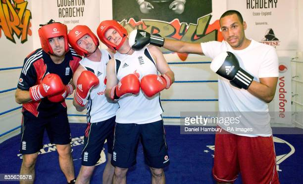 England cricketers Kevin Pietersen Paul Collingwood and Andrew Strauss with British Olympic boxing gold medalist James De Gale during an open...