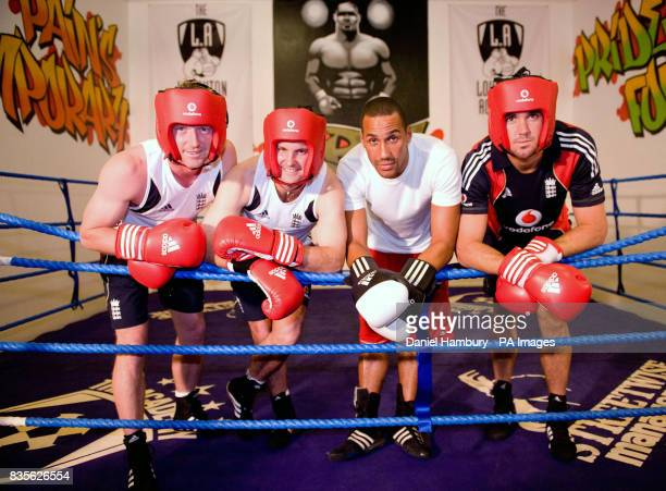 England cricketers Paul Collingwood Andrew Strauss and Kevin Pietersen boxing training with British Olympic boxing gold medalist James De Gale during...