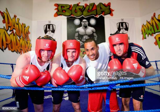 England cricketers Paul Collingwood Andrew Strauss and Kevin Pietersen with British Olympic boxing gold medalist James De Gale during an open...