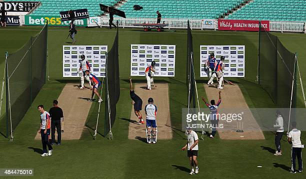 England cricketers practice in the nets during a practice session at The Oval in London on August 19 ahead of the fifth Ashes Test against Australia...