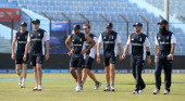 England cricketers warm up at a training session during the ICC World Twenty20 cricket tournament at The Zahur Ahmed Chowdhury Stadium in Chittagong...