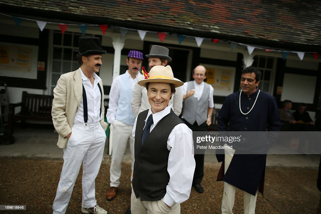 England crickiter Claire Taylor stands with team members before a Victorian cricket match at Vincent Square on May 29, 2013 in London, England. The match celebrates the 150th anniversary the Wisden Cricketers' Almanack. The almanack is a cricket reference book published one a year in the United Kingdom.
