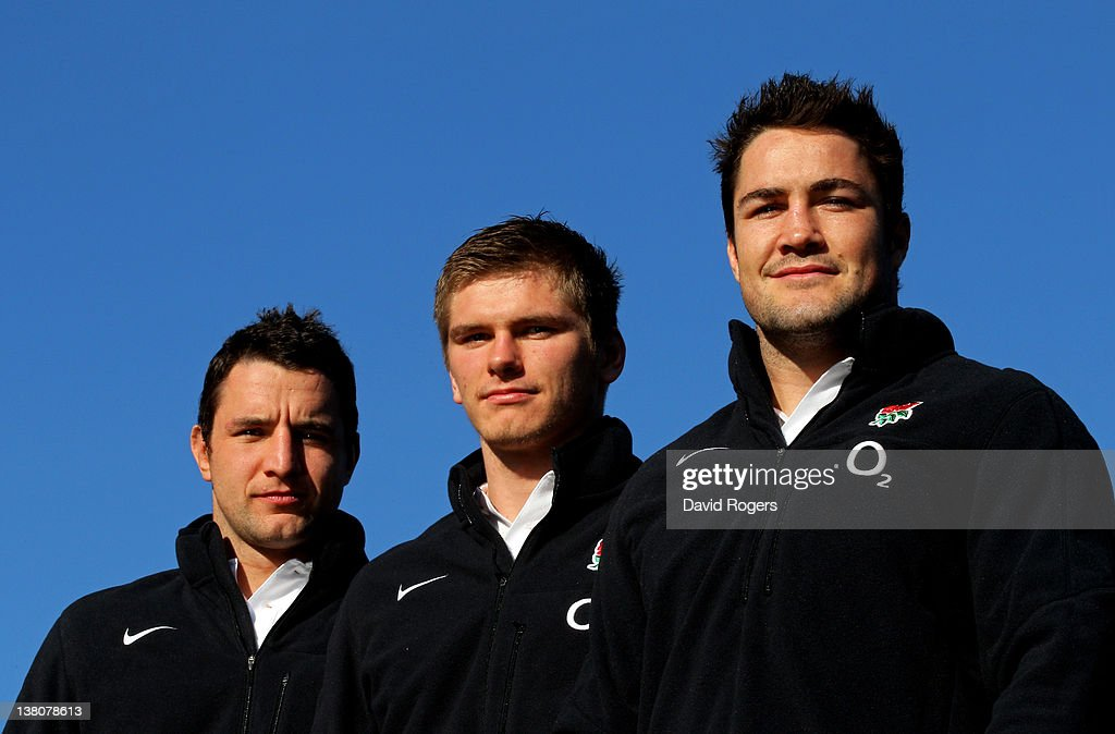 England debut caps <a gi-track='captionPersonalityLinkClicked' href=/galleries/search?phrase=Phil+Dowson&family=editorial&specificpeople=226672 ng-click='$event.stopPropagation()'>Phil Dowson</a>, <a gi-track='captionPersonalityLinkClicked' href=/galleries/search?phrase=Owen+Farrell&family=editorial&specificpeople=4809668 ng-click='$event.stopPropagation()'>Owen Farrell</a> and <a gi-track='captionPersonalityLinkClicked' href=/galleries/search?phrase=Brad+Barritt&family=editorial&specificpeople=4542508 ng-click='$event.stopPropagation()'>Brad Barritt</a> pose for the camera during the England press conference at Pennyhill Park on February 2, 2012 in Bagshot, England.