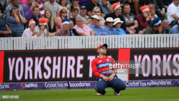 England debutant Liam Livingstone reacts after dropping a catch during the 2nd NatWest T20 International between England and South Africa at The...