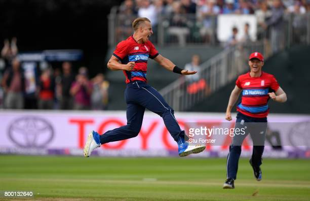 England debutant Tom Curran celebrates his first international wicket during the 2nd NatWest T20 International between England and South Africa at...