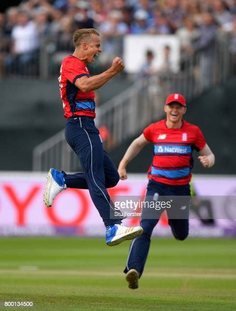 England debutant Tom Curran celebrates his first international wicket of Reeza Hendricks during the 2nd NatWest T20 International between England and...