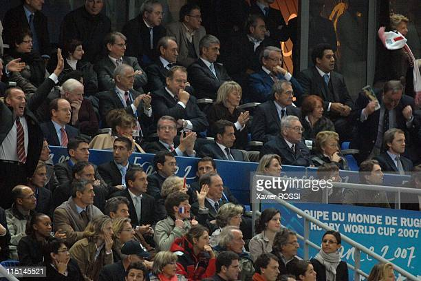 England Defeats France 149 to Reach Rugby Cup Final in Saint Denis France on October 13 2007 The french president Nicolas Sarkozy with also JeanPaul...