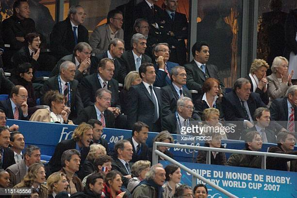 England Defeats France 149 to Reach Rugby Cup Final in Saint Denis France on October 13 2007 French president Nicolas Sarkozy with also JeanPaul...