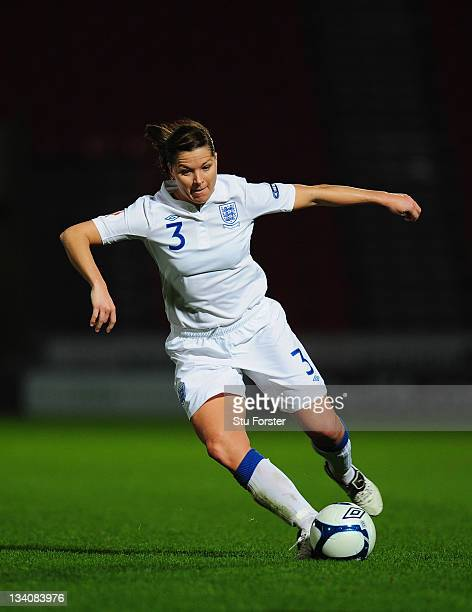 England defender Rachel Unitt in action during the UEFA Women's Euro 2013 qualifier between England and Serbia at the Keepmoat on November 23 2011 in...