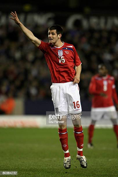 England defender Scott Dann makes a point during the Under21 International Friendly between England and Poland at Molineux on March 25 2008 in...