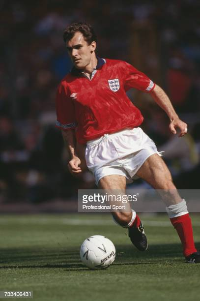 England defender Tony Dorigo makes a run with the ball in the international friendly match between England and Brazil at Wembley Stadium in London on...