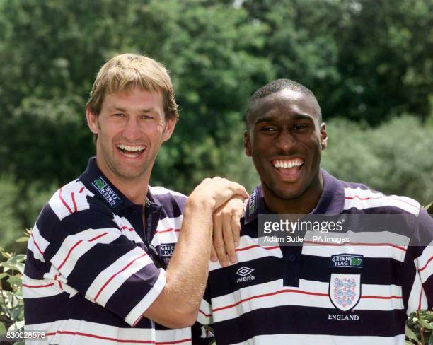 England defenders Tony Adams and Sol Campbell pose for pictures after a press conference this afternoon in Le Baule near Nantes France England's next...