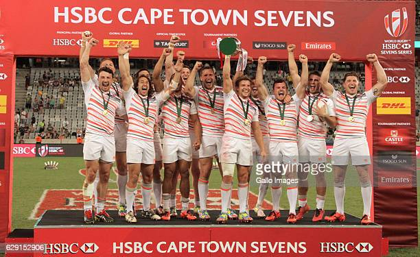 England during the trophy presentation during day 2 of the HSBC Cape Town Sevens at Cape Town Stadium on December 11 2016 in Cape Town South Africa