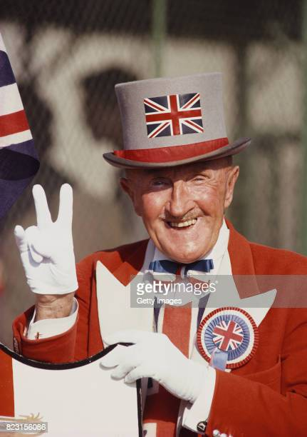 England fan and enthusiast Ken Bailey pictured in his Union Jack top hat and tails circa 1986