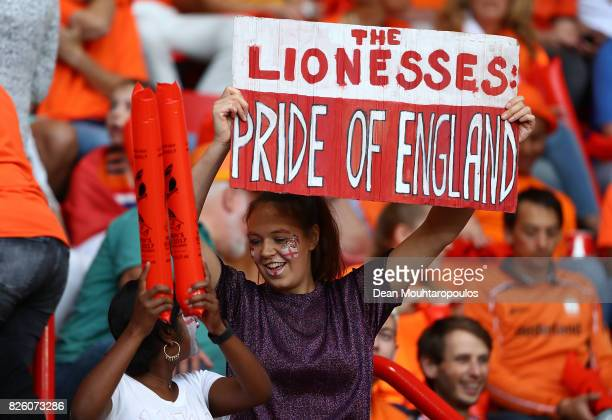 England fan enjoys the pre match atmosphere ahead of the UEFA Women's Euro 2017 Semi Final match between Netherlands and England at De Grolsch Veste...
