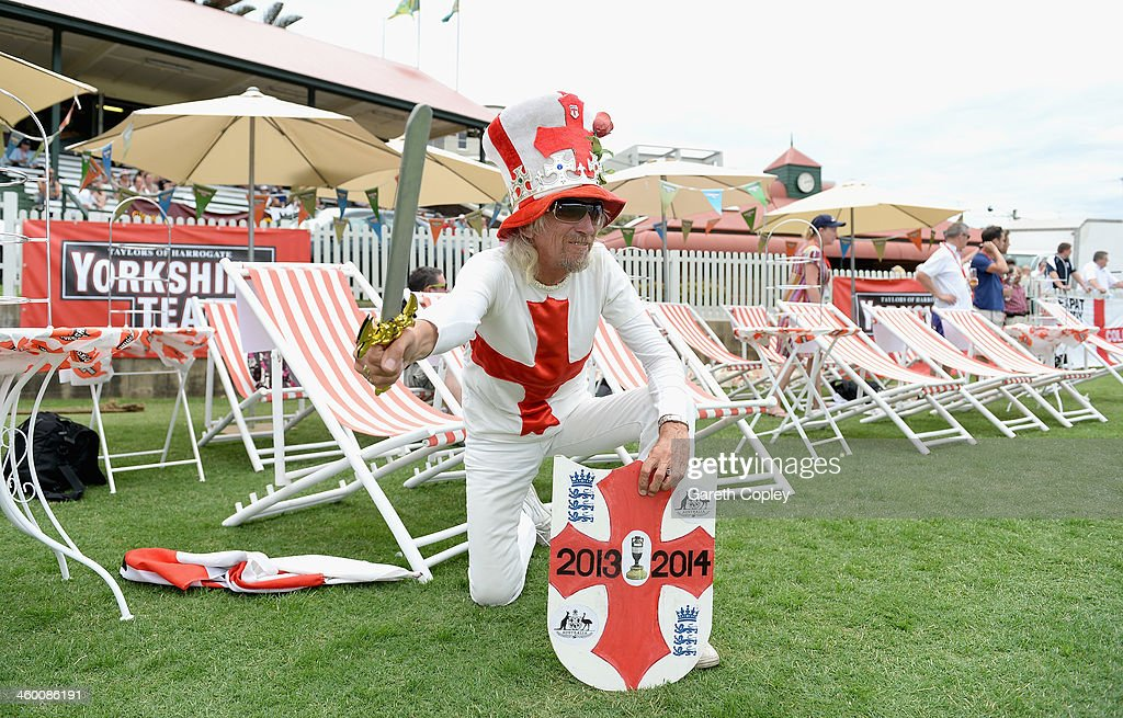 England fan Vic Flowers watches a cricket match during the Yorkshire Tea Beach Party at Coogee Beach on January 2, 2014 in Sydney, Australia.