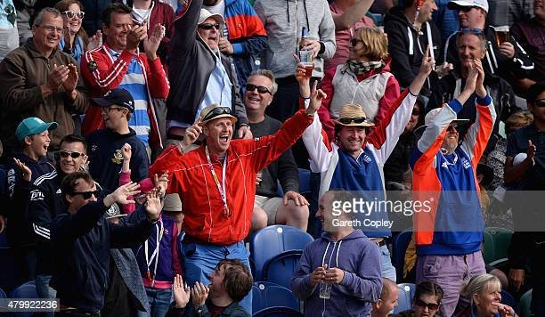 England fans celebrate during day one of the 1st Investec Ashes Test match between England and Australia at SWALEC Stadium on July 8 2015 in Cardiff...
