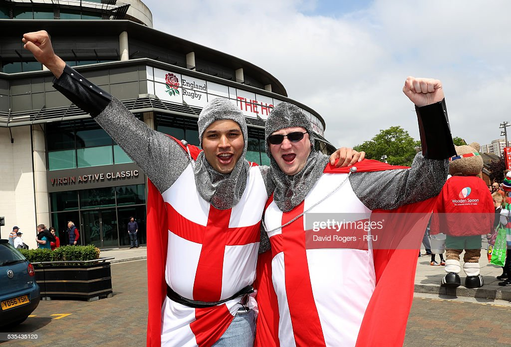 England fans celebrate during the England v Wales International match at Twickenham Stadium on May 29, 2016 in London, England.
