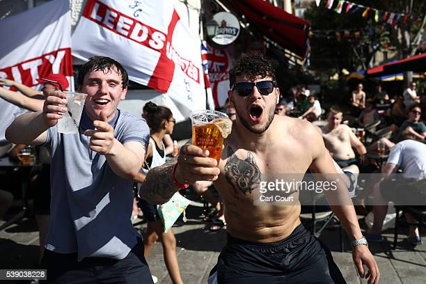 England fans chant as they drink in a bar ahead of the England v Russia game which will take place on Saturday on June 9 2016 in Marseille France...
