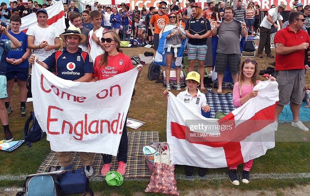 England fans cheer on their team during the 2015 Cricket World Cup Group A match between England and Scotland in Christchurch on February 23 2015 AFP...