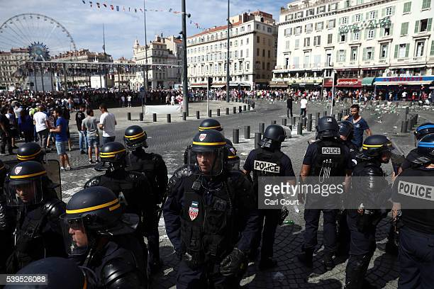 England fans clash with police ahead of the game against Russia later today on June 11 2016 in Marseille France Football fans from around Europe have...