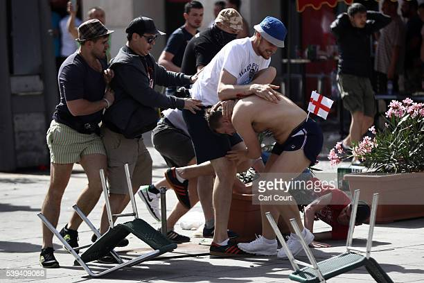 England fans clash with Russian fans ahead of the game against Russia later today on June 11 2016 in Marseille France Football fans from around...