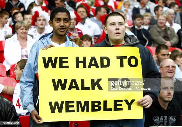 England fans display a banner in the crowd after supporters struggled to make their way to the stadium due to the London Tube strikes