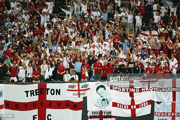 England fans during the Group F match against Argentina of the World Cup Group Stage played at the Sapporo Dome in Sapporo Japan on June 7 2002...