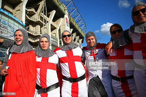 England fans enjoy the atmosphere prior to the QBE International match between England and France at Twickenham Stadium on August 15 2015 in London...