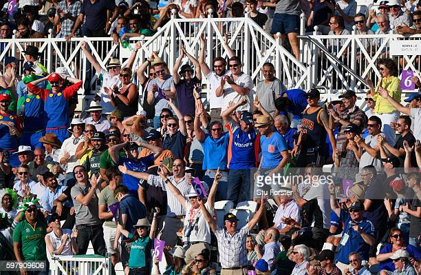 England fans enjoy yet another six hit during the 3rd One Day International between England and Pakistan at Trent Bridge on August 30 2016 in...