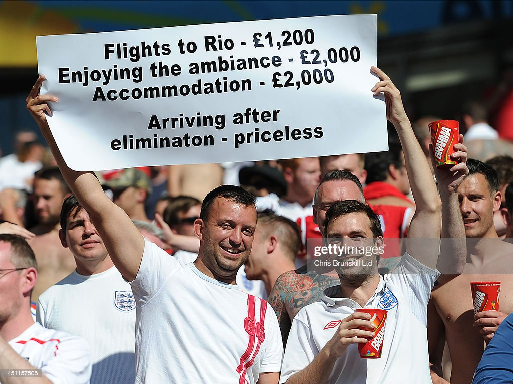 England fans hold up a banner during the 2014 FIFA World Cup Brazil Group D match between Costa Rica and England at Estadio Mineirao on June 24, 2014 in Belo Horizonte, Brazil.