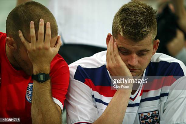 England fans look dejected after the team's 21 defeat in the 2014 FIFA World Cup Brazil Group D match between Uruguay and England at Arena de Sao...