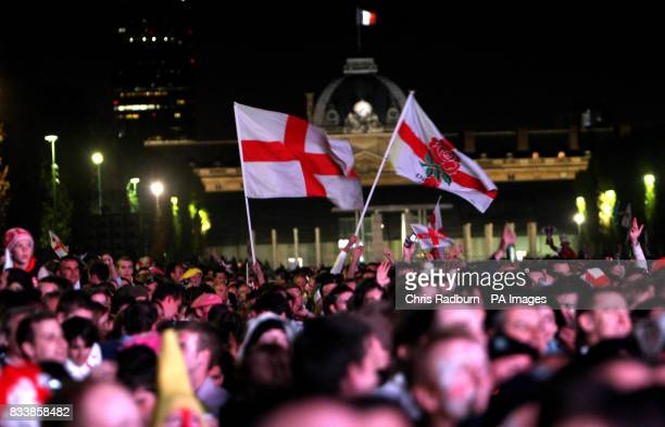 England fans near the Eiffel Tower Paris watching England's Rugby World Cup Final match against South Africa