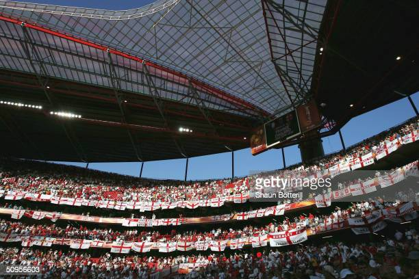 England fans pack out the Estadio da Luz during the France v England Group B match in the 2004 UEFA European Football Championships at the Estadio da...
