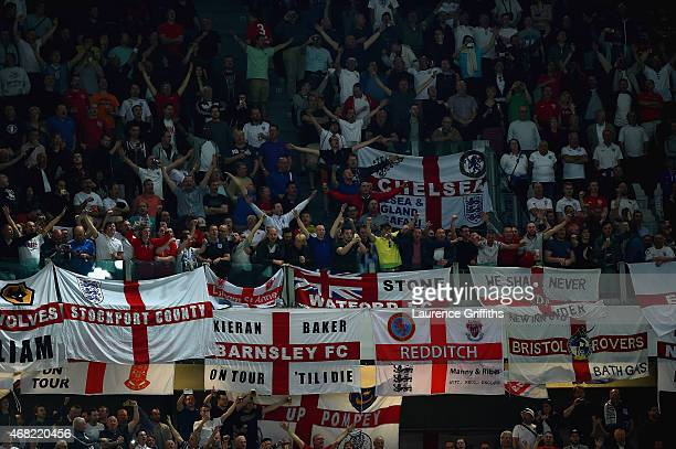 England fans show their support during the international friendly match between Italy and England at the Juventus Arena on March 31 2015 in Turin...