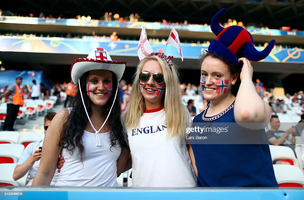 England fans show their support prior to the UEFA EURO 2016 round of 16 match between England and Iceland at Allianz Riviera Stadium on June 27, 2016 in Nice, France.