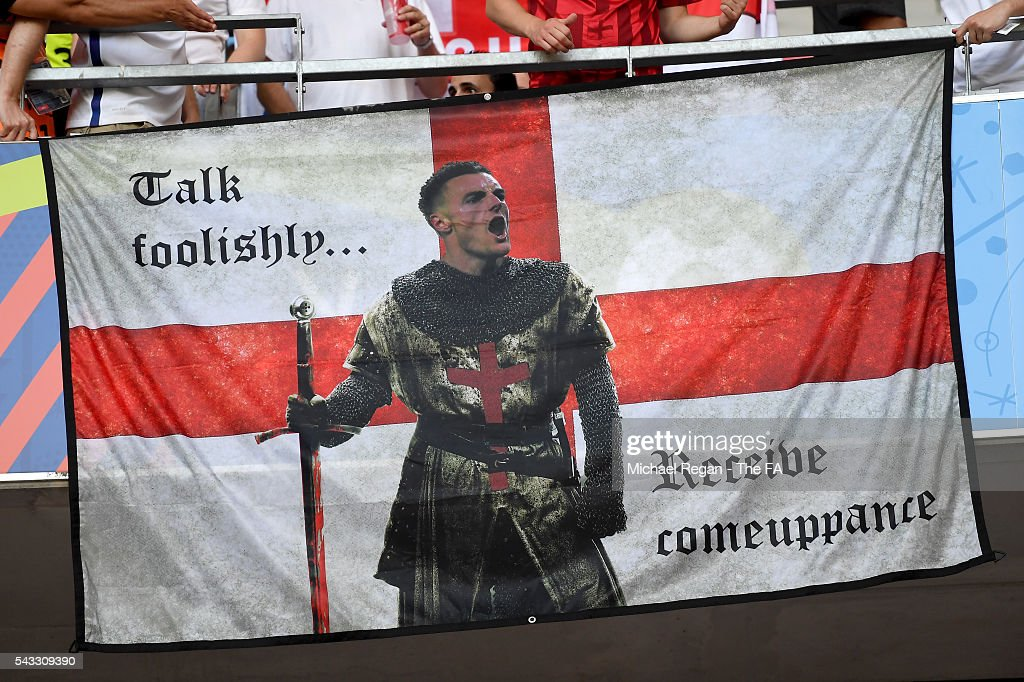 England fans show their support with a flag showing Jamie Vardy prior to the UEFA EURO 2016 round of 16 match between England and Iceland at Allianz Riviera Stadium on June 27, 2016 in Nice, France.