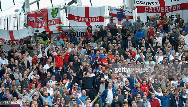England fans sing the national anthem before the International friendly match between Republic of Ireland and England at Aviva Stadium on June 7 2015...